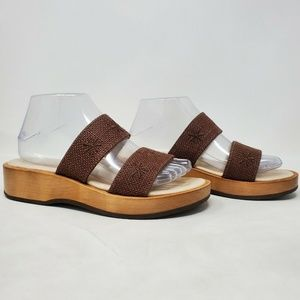 LL BEAN Leather Strappy Slip On Sandal Brown Weave